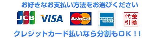 お好きなお支払い方法をお選び頂けます。VISA、MasterCard、JCB、AMEX